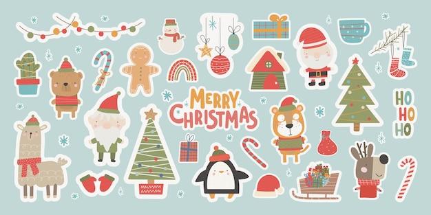 Kerststickers de collectie schattige stijl met traditionele elementen van kerstmis en nieuwjaar