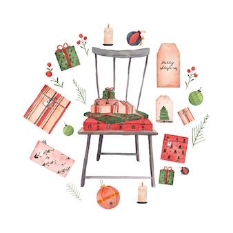 Kerststoel en geschenken aquarel collectie