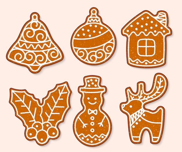 Kersttaart zoete desserts voedsel traditionele taarten voor kerstdiner en teatime - boom, herten, cakeman, bel, huis, sok en pinguïn illustratie