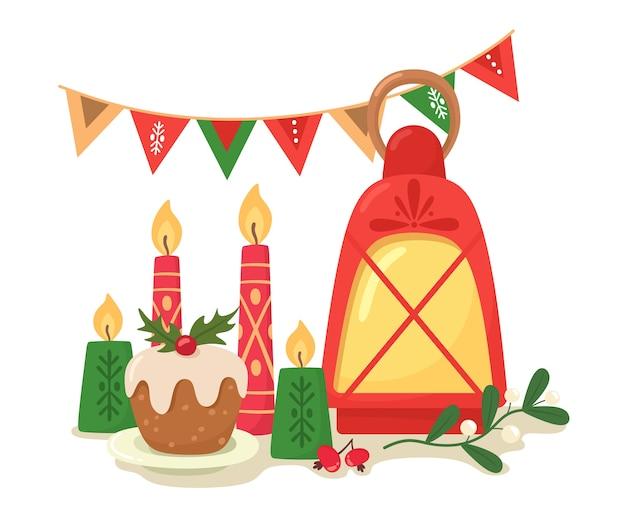 Kersttafel met kaarsen, cupcake, guirlande en een tak van maretak, cartoon vlakke stijl.