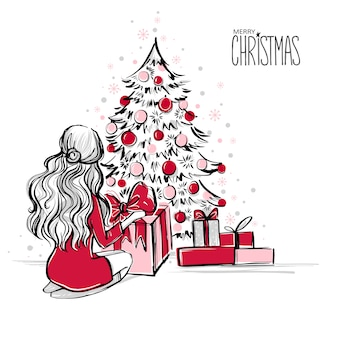 Kersttafereel met geschenken