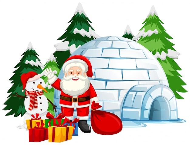 Kerstthema met de kerstman bij de iglo