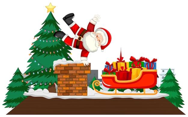 Kerstthema met de kerstman op het dak