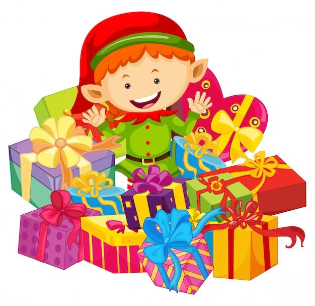 Kerstthema met elf en huidige dozen