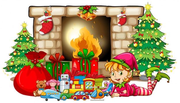 Kerstthema met elf en speelgoed bij de open haard
