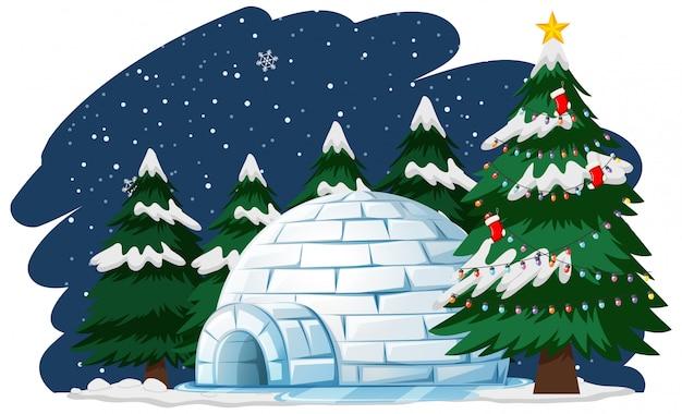 Kerstthema met kerstboom door iglo
