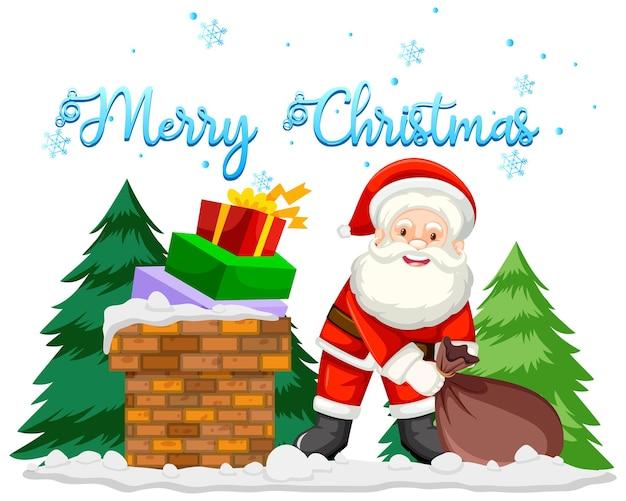 Kerstthema met kerstman en cadeautjes
