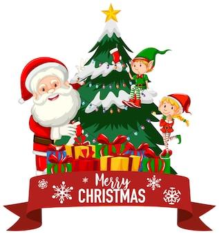 Kerstthema met kerstman en elf