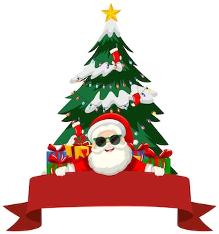 Kerstthema met kerstman en geschenken
