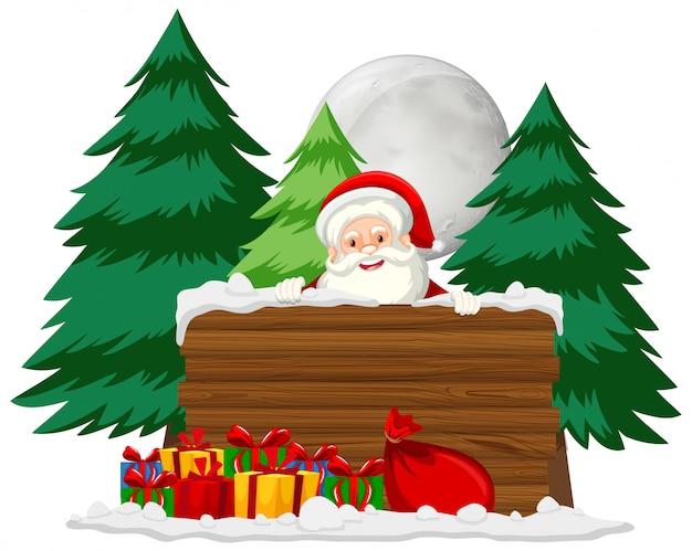 Kerstthema met kerstman en veel cadeautjes