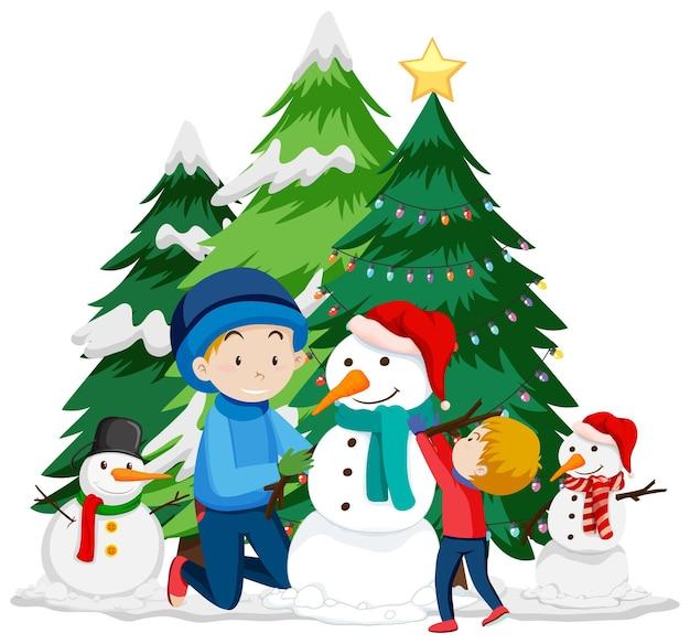 Kerstthema met kinderen en sneeuwpop