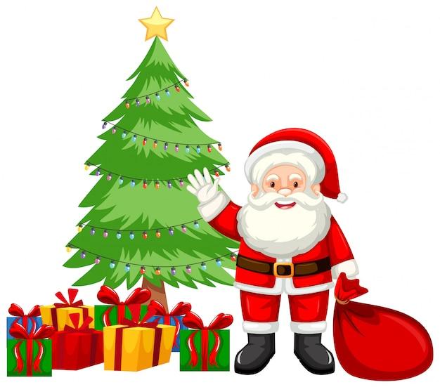 Kerstthema met santa en cadeautjes