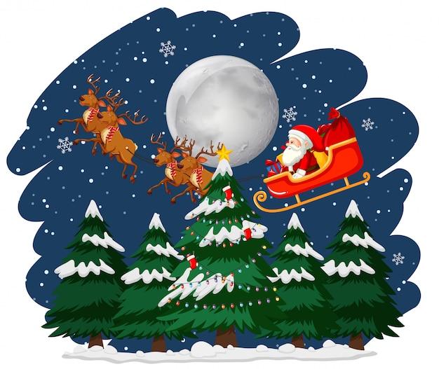 Kerstthema met santa op slee