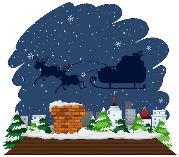 Kerstthema met slee die over het huis vliegt