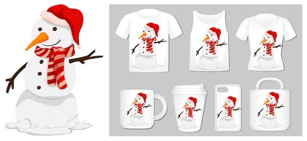 Kerstthema met sneeuwpop op veel producten