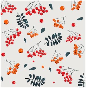 Kerstthema patroon van verschillende bessen en twijgen met bladeren.