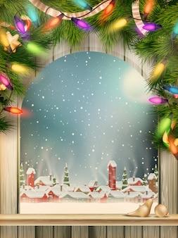 Kerstthema - venster met een soort op winterdorp.
