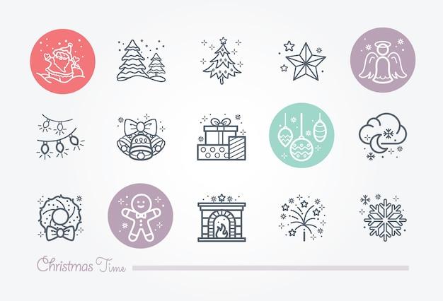 Kersttijd icoon verzameling