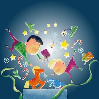 Kersttijd illustratie met kinderen en geschenken