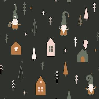 Kersttijd naadloos patroon in scandinavische stijl