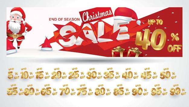 Kerstuitverkoop banner met kortingscode 10,20,30,40,50,60,70,80,90,99 procent