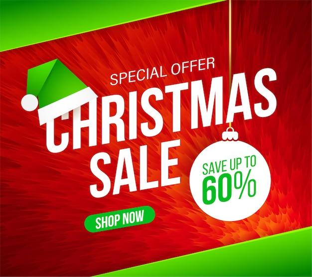Kerstuitverkoop banner voor speciale aanbiedingen, uitverkoop en kortingen. abstracte rode harige achtergrond.