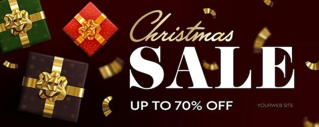 Kerstuitverkoop tot 70 procent korting op horizontale banner