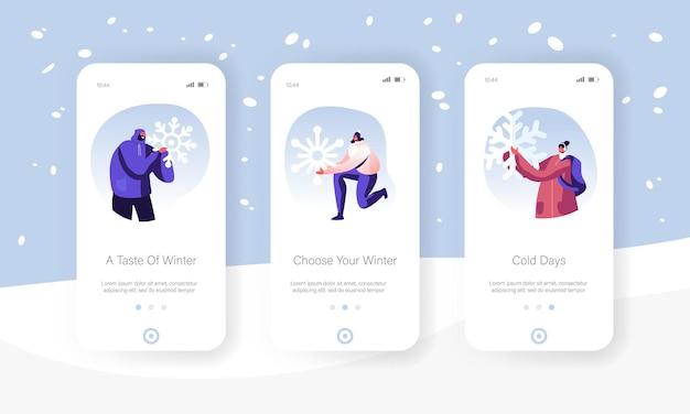 Kerstvakantie activiteit mobiele app-pagina schermset aan boord.