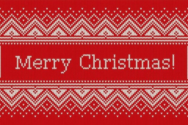 Kerstvakantie breipatroon met sneeuwvlokken en groet tekst merry christmas. naadloos gebreide achtergrond Premium Vector