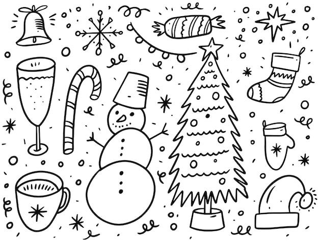 Kerstvakantie doodle elementen instellen. zwarte inkt. geïsoleerd op witte achtergrond.