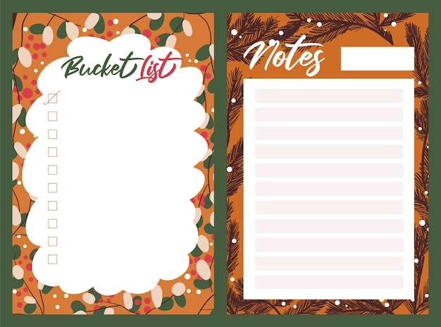 Kerstvakantie feest collectie set sticker, dagboek, notities,