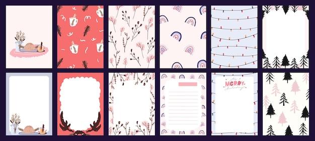 Kerstvakantie feest design collectie set sticker