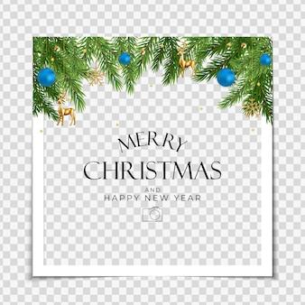 Kerstvakantie feest fotolijst achtergrond gelukkig nieuwjaar en vrolijk kerstfeest poster sjabloon