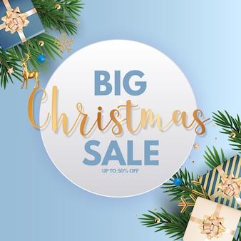 Kerstvakantie feest verkoop achtergrond gelukkig nieuwjaar en vrolijk kerstfeest poster sjabloon
