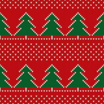 Kerstvakantie gebreide trui patroon ontwerp met kerstbomen