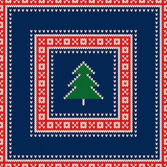 Kerstvakantie gebreide trui patroon ontwerp met kerstboom