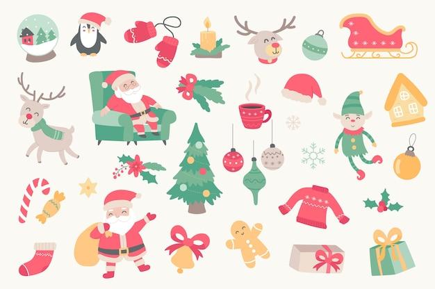 Kerstvakantie geïsoleerde objecten set verzameling van santa claus elf rendier pinguïn boom