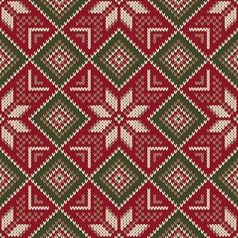 Kerstvakantie naadloos gebreid patroon. regeling voor het breien van trui patroonontwerp en kruissteekborduurwerk. wol gebreide textuur imitatie.