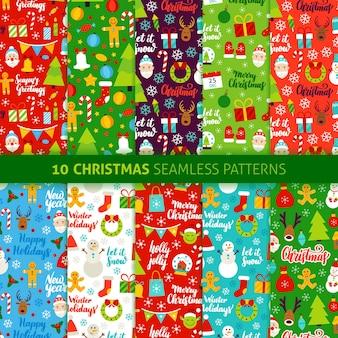 Kerstvakantie naadloze patronen. vectorillustratie van seizoensgebonden achtergrond instellen. gelukkig nieuwjaar.