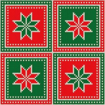 Kerstvakantie naadloze wol gebreide textuur achtergrond met sneeuwvlokken ornament