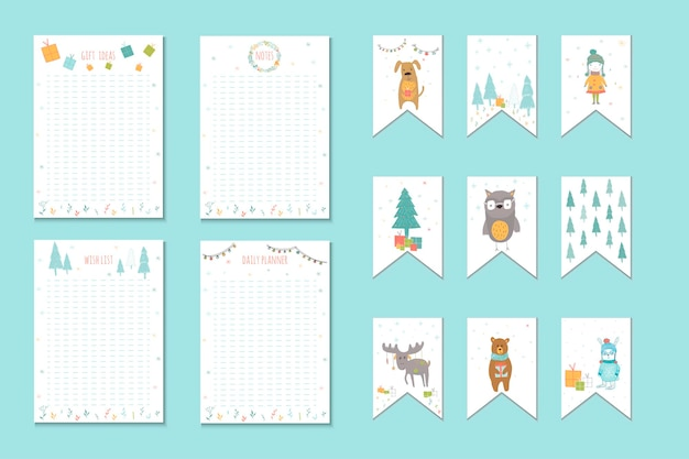 Kerstvakantie om lijsten te doen, planner, schattige notities met winter vectorillustraties. sjabloon voor feestorganisatie, wenskaarten en journaling-kaarten, uitnodigingen, geschenkendecoratie, briefpapier.