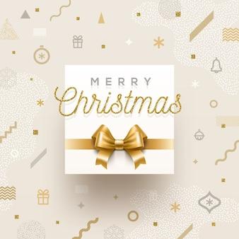 Kerstvakantie ontwerp - vakantiegroet met gouden strik op een abstracte kerst achtergrond.