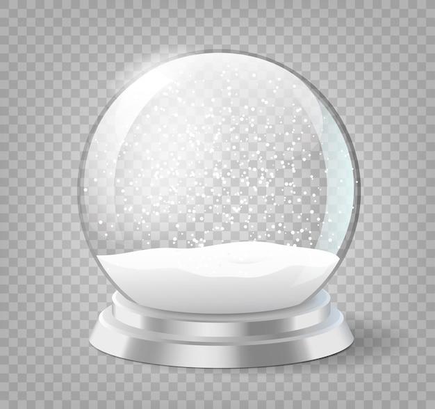 Kerstvakantie snowglobe, lege glazen xmas sneeuwbal sjabloon