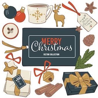Kerstvakantie symbolische elementen, cadeautjes met strik, decoratieve bellen en wensen op papier. kopje thee of koffie, maretakbladeren, peperkoekkoekjes en snuisterij voor decor. vector in plat