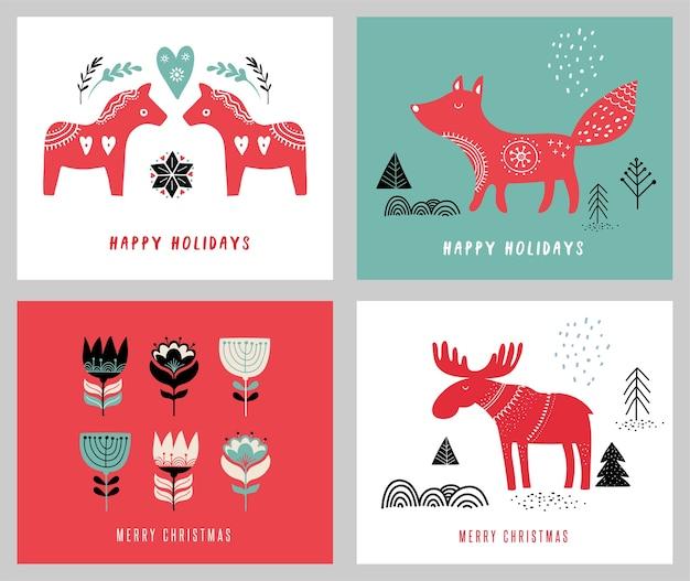 Kerstvakantie wenskaarten in scandinavische stijl