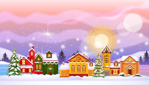 Kerstvakantie winter huizen illustratie met stad in sneeuw, noordelijke hemel, dennen, bevroren dorpsstraat