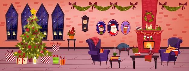 Kerstvakantie woonkamer interieur met bakstenen open haard, versierde kerstboom, cadeautjes, fauteuil