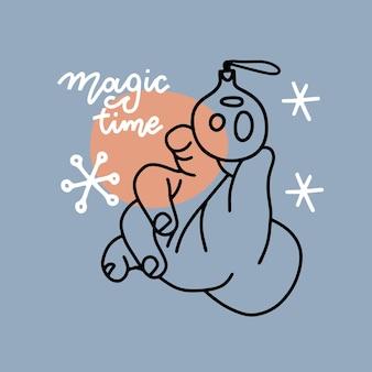 Kerstvakantiekaart lineair elegant ontwerp kinderachtig hand met glanzende kerstbal, gelukkig nieuw ...