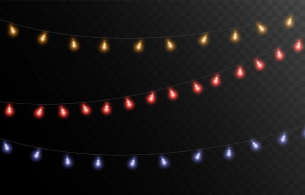 Kerstverlichting design elements gloeiende lichten voor kerstkaarten banners