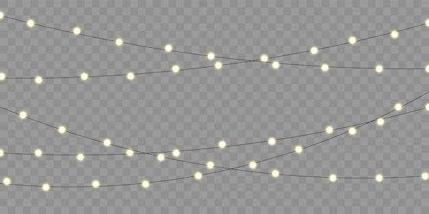 Kerstverlichting geïsoleerd element voor vakantie feest wenskaart. kerst, verjaardag of festival viering lamp lichten